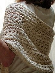This wrap is perfect to keep the chill away on a late summer evening. The stitch patterns (little arrowhead and feather) hint that Cupid may be nearby!