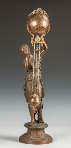 Ansonia Swinger Clock with Victorian Lady | Cottone Auctions