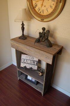 "Tall Console Table. 34"" tall x 30"" Long. 2 Bottom Shelves. Reclaimed Wood Furniture. Cedar Table. Eco Decor. Entry Table. $245.00, via Etsy."