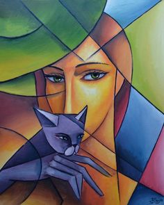 Painting by Jiří Petr (Czechia) Cubist Portraits, Cubist Paintings, Cubist Art, Black Art Painting, Naive Art, Picasso, Cat Art, Bunt, Art Drawings