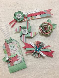 Homemade Embellishment Piece Set of Very Sweet and Shabby Spring Fling Clustered Scrapbook Embellishments Wink Of Stella, Candy Cards, Scrapbook Embellishments, Diy Scrapbook, Paper Flowers, Acrylic Gems, Card Making, Paper Crafts, Homemade