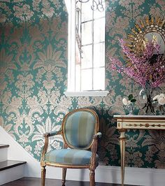 """A touch """"busy"""" but still beautiful. Love the wall paper!"""
