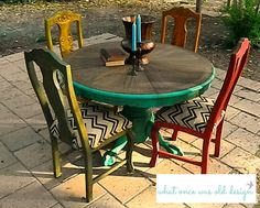 Painted table, mexican style, rustic, aged look.  Painted in ASCP Florence and chairs painted multi-color and upholstered with chevron burlap.