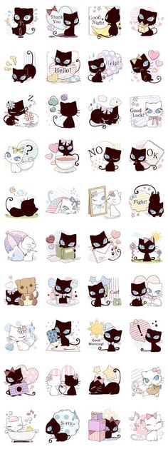 Long eyelashes and big eyes are super admirable!Cutie stickers of a white cat and a black cat are now available on Line.