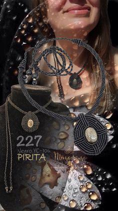 Colgante micromacramé con PIRITA, confeccionado con hilo encerado de 0,5 mm.   #colgante #micromacrame #macrame #HechoAMano #HiloEncerado #pirita #penjol #FetAMa #FilEncerat #pendant #handmade #waxedthread #pyrite
