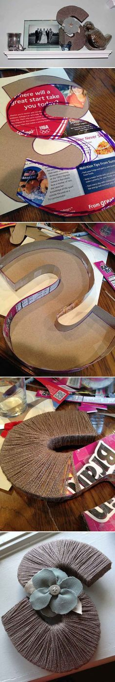 DIY Cereal Box Craft Art and Projects | Yarn-Wrapped Letter by DIY Ready at http://diyready.com/28-things-you-can-make-from-cereal-boxes/