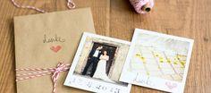 Vorgedruckte Karte kann ja jeder: Nach dem großen Fest kann man mit diesen selbstgemachten Dankeskarten die Hochzeit in Erinnerung behalten...