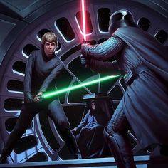 Luke Skywalker Duels Darth Vader Before the Emperor.