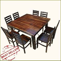 Rustic Counter Height Kansas City Square Dining Set For 8 People – Farmhouse table diy Square Dining Room Table, Bar Height Dining Table, Living Room Table Sets, Dining Table Dimensions, Formal Dining Tables, Square Tables, Dining Table Chairs, A Table, 8 Person Dining Table