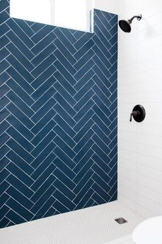White grout is both a blessing and a curse. It does an extraordinary job of hiding grout lines when paired with lighter or white colored tile. Additionally, it can make colored tile pop. Find out Here How to Choose Grout Type & Color. Blue Subway Tile, Subway Tile Showers, Blue Tiles, Bathroom Layout, Bathroom Interior Design, Navy Blue Bathrooms, Upstairs Bathrooms, Downstairs Bathroom, Master Bathroom