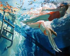 Beneath the Surface: Sublime Underwater Portraits by Samantha French swimming portraits painting French Paintings, Original Paintings, Oil Paintings, Underwater Photography, Art Photography, Illustration Arte, Underwater Painting, Kunst Online, Large Prints