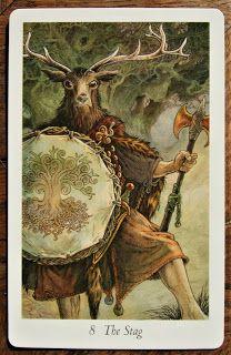 The Wildwood Tarot Stag Card: Strength or Justice? Wildwood Tarot, The Worst Witch, Wicca, Pagan, Beltane, Major Arcana, Tarot Cards, Celtic, Elf