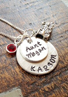New Aunt Gifts for Her from the Baby:  Personalized Aunt Name Necklace with Birthstone by Blue Eyed Jewels TX @ Etsy
