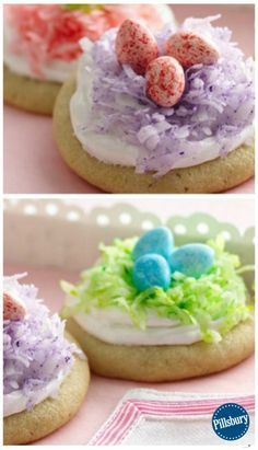 Easter Nest Cookies are made with Pillsbury Ready To Bake refrigerated sugar cookies, frosting, jelly beans, and coconut flakes and are super easy to make! A sweet treat for the Easter table or a spring party, these cookies couldn't be easier, starting with refrigerated sugar cookies and purchased frosting. Grab the kids to help with the decorating and enjoy!