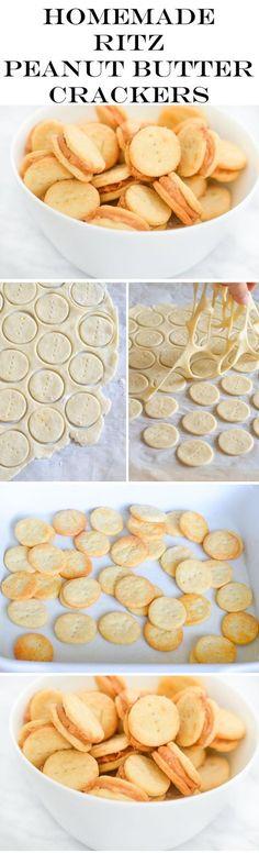 Recipe for Homemade Ritz Crackers + Peanut Butter Cracker Sandwiches. Homemade Kid Favorite Recipes!
