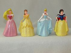 "Aurora Belle Cinderella Snow White Princess Glitter Dress 3"" Figurine 4 Pc Set #DisneyStore"