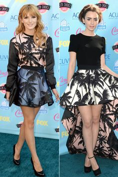 Palm tree print is all the rage this summer, with both teen queen Bella Thorne and The Mortal Instruments star Lily Collins sporting the tropical style at the 2013 Teen Choice Awards on August 11, 2013 in Universal City, Calif.