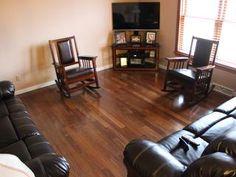 Before and After :: Lumber Liquidators Hardwood Floor Colors, Hardwood Floors, Flooring, Lumber Liquidators, Interior Ideas, Recliner, Living Room, Chair, Furniture