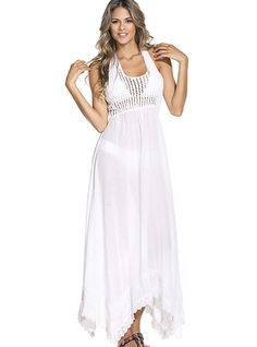 The credit belongs to you, beautiful woman that loves yourself and your body. Today OndadeMar beachwear wants to honor your name by creating this fashionable masterpiece! FEATURES Lace trim U neckline White color Racer back See through Flowy Gauze Fabric, Beach Dresses, Swimsuits, Swimwear, Lace Trim, Beachwear, Beautiful Women, Dresses 2016, Woman