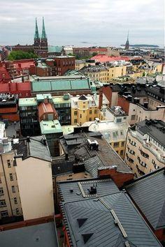 Näkymä Korkeavuorenkadun paloaseman tornista Johanneksen kirkon suuntaan. The view from Korkeavuorenkatu fire station to the south, Helsinki.
