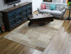 Brown Blue Faded Transitional Rug