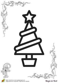 Un beau sapin de noël avec une jolie étoile au sommet à décorer et à colorier