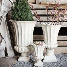Antique White Metal Planters