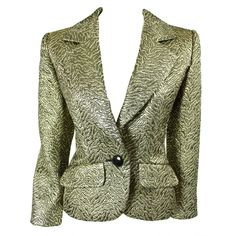 Preowned Yves Saint Laurent Gold Brocade Jacket (65855 RSD) ❤ liked on Polyvore featuring outerwear, jackets, multiple, brocade jacket, yves saint laurent jacket, green jacket, gold jacket and yves saint laurent