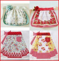 Delantar Retro Apron Patterns, Apron Pattern Free, Sewing Patterns, Dress Patterns, Aprons Vintage, Vintage Sewing, Sewing Crafts, Sewing Projects, Cute Aprons