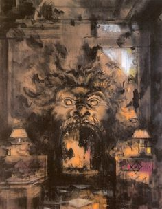 An truly infernal fireplace... (Renzo Mongiardino fireplace as painted by Jeremiah Goodman)