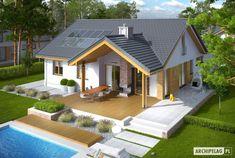 Projekt domu Simon energo plus - koszt budowy 239 tys. Modern Bungalow House, Bungalow House Plans, House Roof Design, Dream House Exterior, Residential Architecture, Simple House, Home Fashion, Cabana, Exterior Design