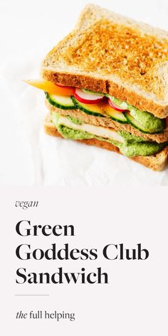 This green goddess club sandwich is hearty yet fresh! It's packed with vegetables, protein-rich grilled tofu, and the best vegan tahini green goddess dressing. #vegan #vegetarian #meatless Vegan Recepies, Vegan Lunch Recipes, Vegan Dinners, Veggie Recipes, Vegan Vegetarian, Whole Food Recipes, Cooking Recipes, Veggie Meals, Sprouted Grain Bread