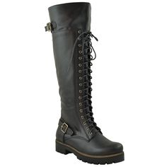 Womens Knee High Boots Over The Knee Lace Up Combat Boots Black