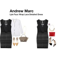 Andrew Marc Lyle Faux Wrap Lace Detailed Dress