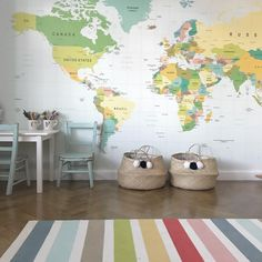 Educational and fun! We love seeing our world map wall mural in Becca's home. Image by Educational and fun! We love seeing our world map wall mural in Becca's home. Image by Kids World Map, World Map Wallpaper, World Map Wall Art, World Map Poster, Nursery Wallpaper, Wall Maps, Kids Wallpaper, Wall Mural, Next Wall Art
