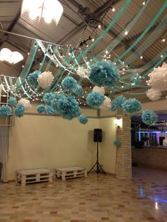 Quinceanera Party Planning – 5 Secrets For Having The Best Mexican Birthday Party Sweet 16 Parties, Grad Parties, Birthday Parties, Festa Party, Diy Party, Party Ideas, Blue Wedding Decorations, Tiffany Blue Decorations, Party Ceiling Decorations