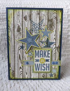 card using Stampin Up Hardwood, Perfect pennants  Simply Stars stamps