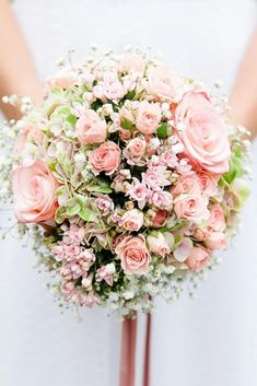 39 Soft Pink Wedding Bouquets To Fall In Love With ❤️ pink wedding bouquets with roses and baby breath benjisphotodesign via instagram ❤️ See more: http://www.weddingforward.com/pink-wedding-bouquets/ #weddingforward #wedding #bride #bouquet #pinkweddingbouquets