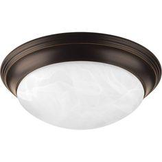 "Progress Lighting P3765-EBWB Melon 2 Light 14"" Wide Energy Star Certified Flush Antique Bronze Indoor Lighting Ceiling Fixtures Flush Mount"