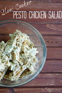 Slow Cooker Pesto Chicken Salad recipe from http://ThisSillyGirlsLife.com Bonus Recipe as well, Slow Cooker Roasted Pesto Chicken #Pesto #ChickenSalad #SlowCooker