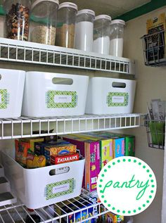 Small pantry still manages to stay organized! Love this, using Target, IKEA, and Container Store containers.