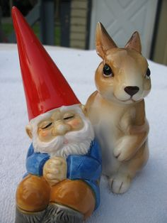 Vintage Too Cute Unieboek Gnome and Rabbit Salt and Pepper Shakers Good Condition. $25.00, via Etsy.