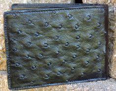 Genuine Mens Leather Full Ostrich Quill Skin Bifold Exotic Ostrich Wallet Black #Handmade #Bifold