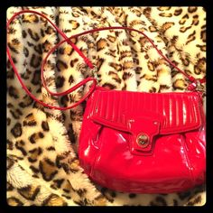 Coach Red Patent Leather Over-The-Shoulder Purse