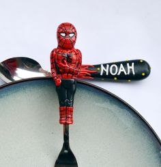 Excited to share the latest addition to my #etsy shop: Spiderman Gift Cutlery Set Personalized Marvel Super Heroes Boy Birthday Gift Gray Red Spoon and Fork Childrens Present Unique Baby Boy Gift