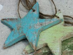 blue and green Beach Themed Decorative Wooden Gift Tags, Ornaments, Star Fish. Beach Christmas Trees, Coastal Christmas, Christmas Tree Themes, Christmas Tree Ornaments, Christmas Crafts, Christmas Favors, Holiday Decor, Ornament Wedding Favors, Beach Wedding Favors