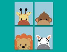 Peek-a-boo Nursery Art Baby Prints Lion Monkey by Benzarina
