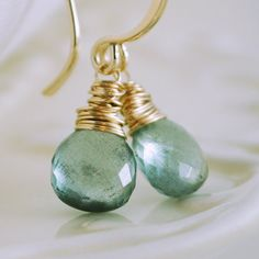 I love aqua and gold together, and these moss aquamarine stones are so clear and pretty.