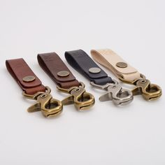 Carry your keys with style and function with our leather and metal key fobs. Key fobs are made with 7oz vegetable tanned leather and solid brass hardware. Choose from antique brass or brushed nickel f