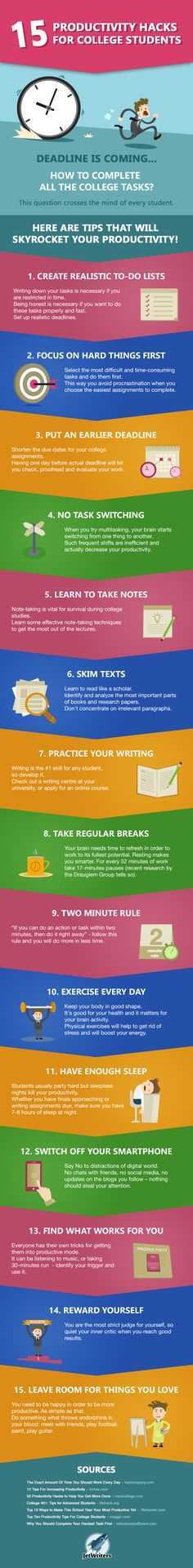 15 Productivity Hacks For College Students #infographic #Hacks #Education